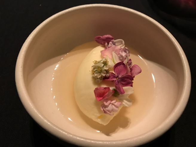 Lilac milk sorbet, cordial made from lilac and tree flowers