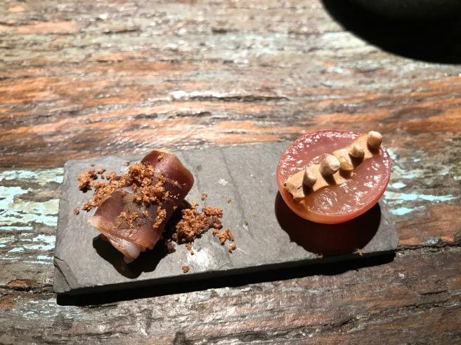 lamb ham/ fermented grape with pate