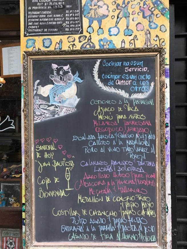menu out front