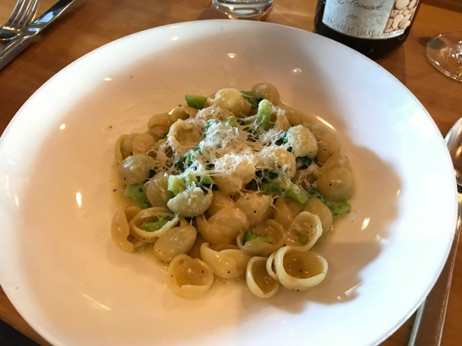 Cacio e Pepe: Orchiette, black pepper, Pecorino, broccoli
