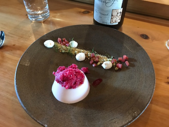 Rhubarb Panna Cotta:  Hibiscus granita, nut crumble, orange cream