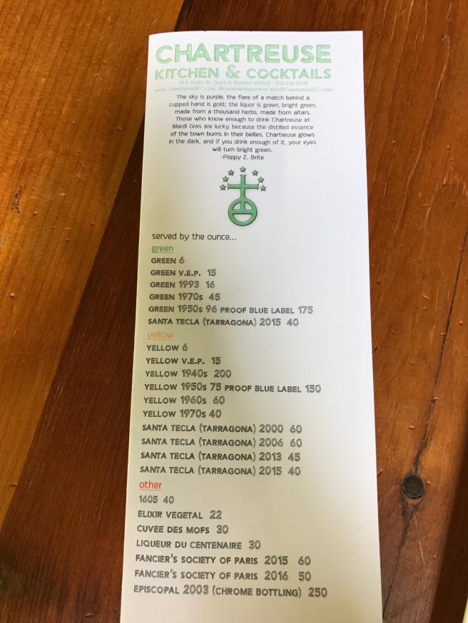 Chartreuse menu