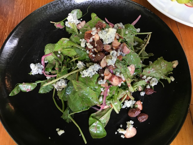 Sunseed Farms Rocket Arugula with pea tendril, point reyes blue cheese, bacon, almond, pickled radish, blackberry maple vinaigrette