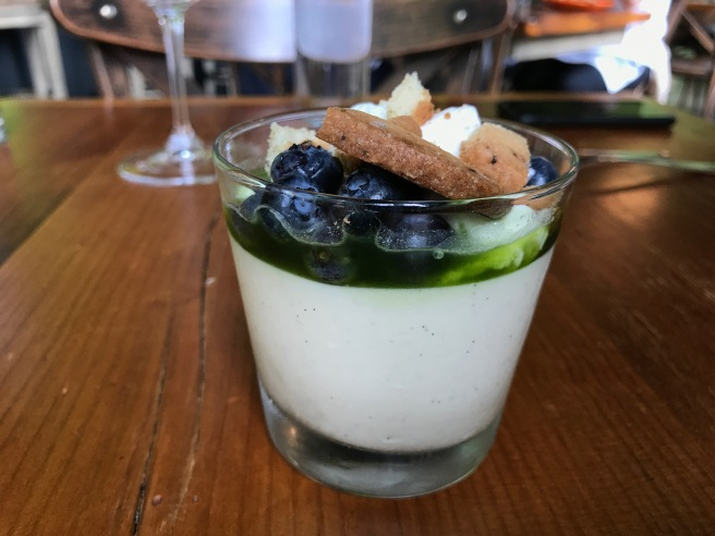 Madagascar Vanilla Pudding with boubon chantilly, lemon basil syrup, rosemary basil cookie