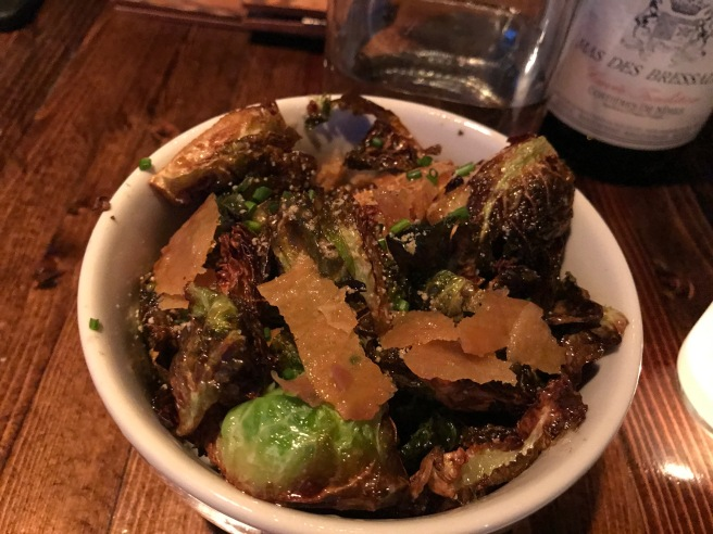 Brussels sprouts with chicken skin