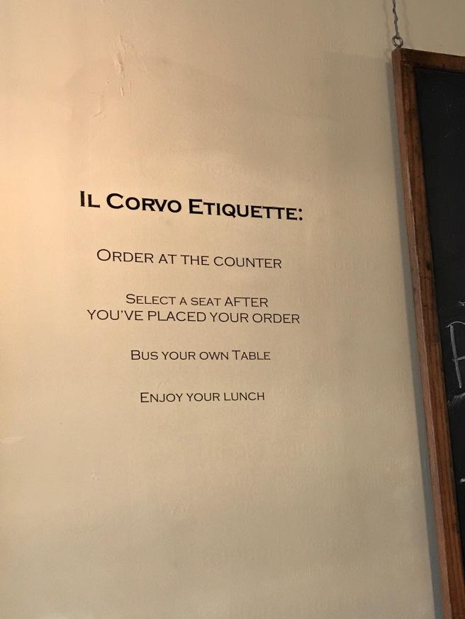 Il Corvo Etiquette