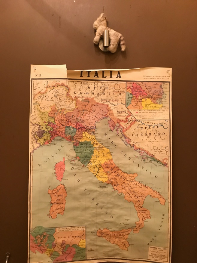 Frankie found another Italy poster in the bathroom