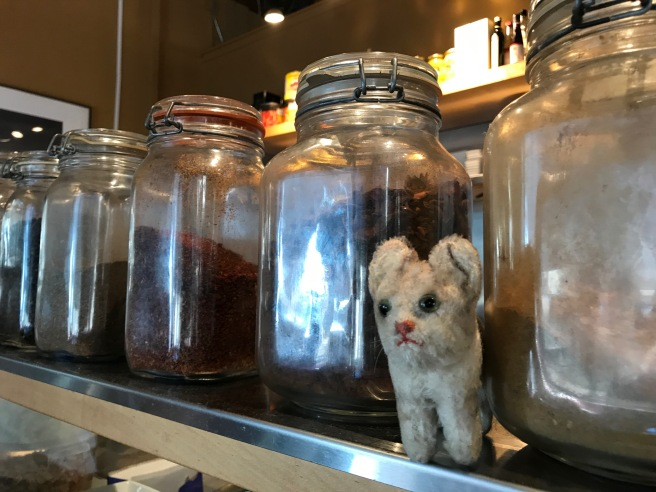 Frankie checked out the jars of ingredients