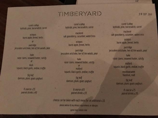that night's menu