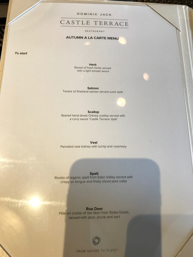 Autumn a la carte menu 1