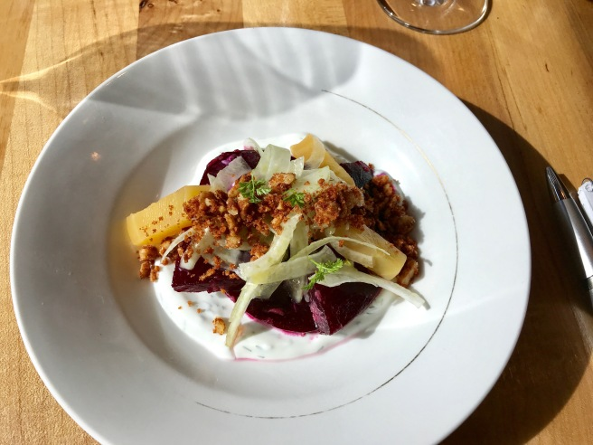 Marinated beets with dill-yoghurt, toasted walnuts and shaved fennel