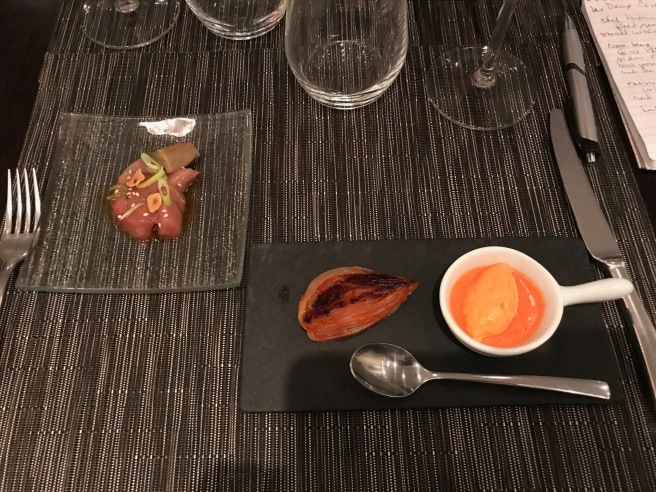 Onion confit and caramelized, red pepper mousse, raw local fish with eggplant