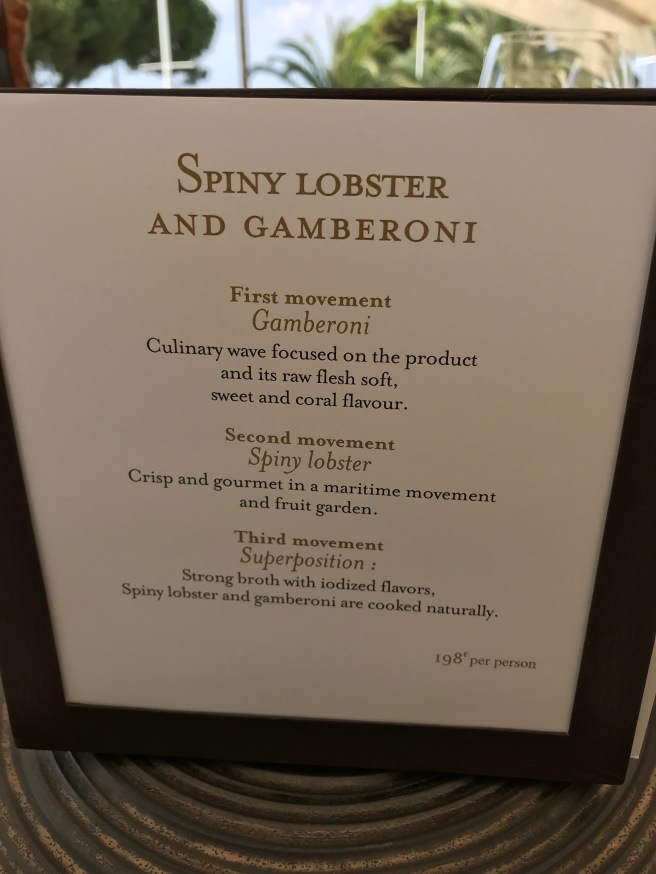 Spiny Lobster menu