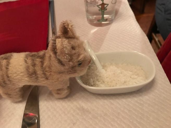 Frankie appreciates having salt on the table