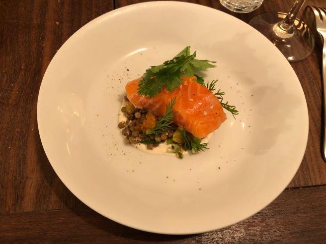 Lentilles/Saumon/Creme a l'orange: lentils and salmon with orange cream