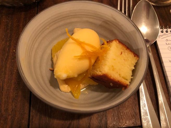 Orange/Cake au citron/Creme pralinée: orange sorbet and lemon cake