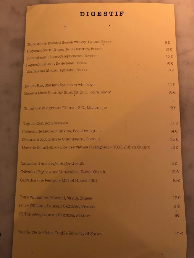 Digestif menu
