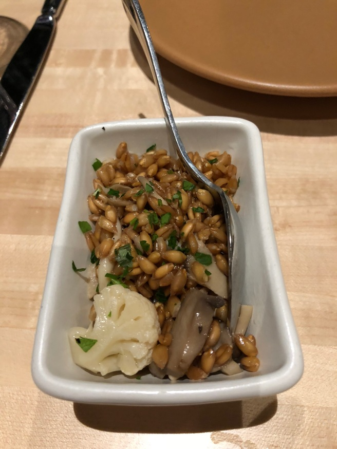Farro, mushrooms and cauliflower 'a la Grecque'