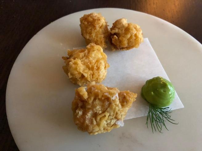 tandori of cod with dill mayo