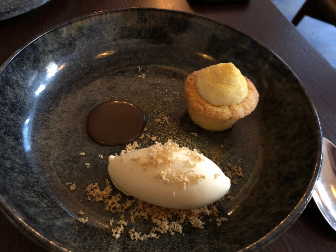Mince pie financier, clementine leaf ice cream