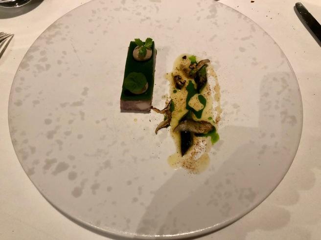 Terrine of goose, shiitake mushroom, leek vinaigrette, parsley
