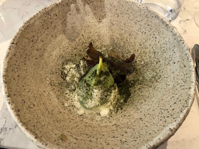 Salmon tartar, potato, horseradish, seaweed