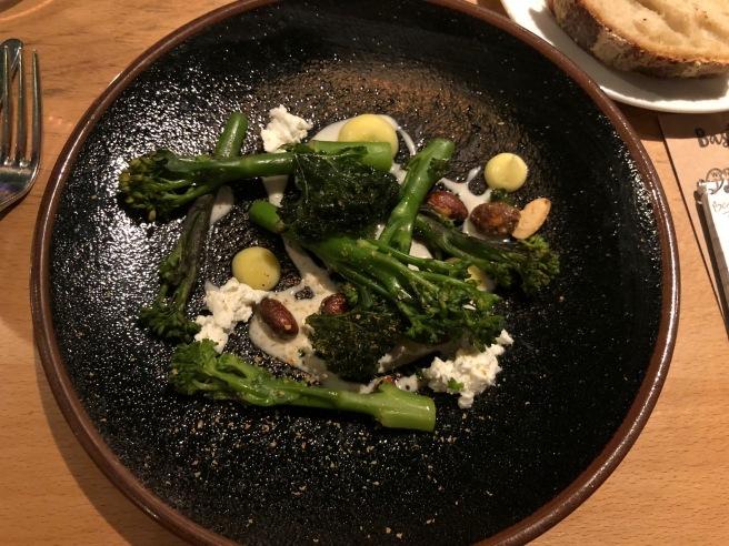 Tenderstem broccoli, almond milk, goat's cheese and kale