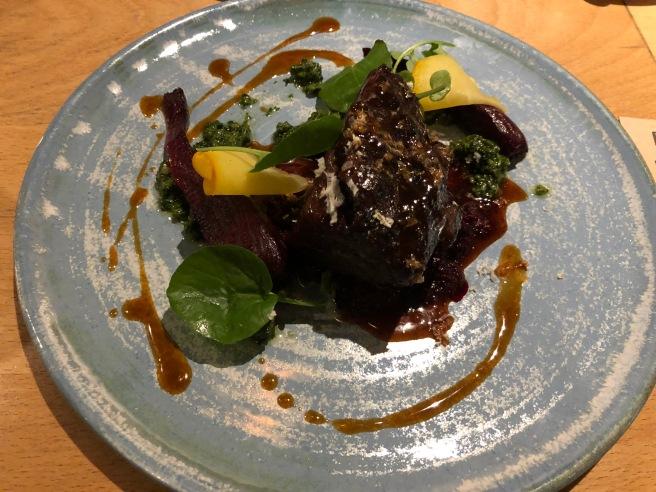 Ox cheek, horseradish, beetroot and landcress