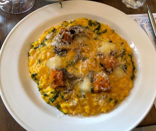 Roast squash risotto, chantererlles and taleggio