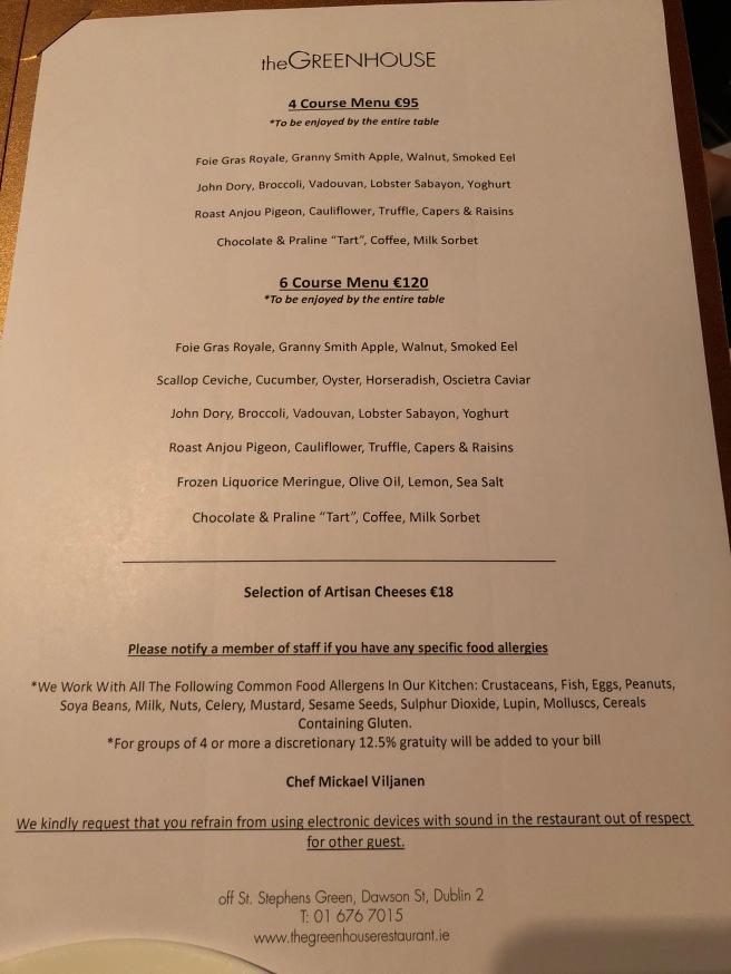 tasting menu