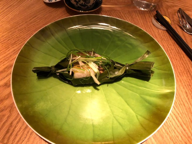 Local Black Cod in Banana Leaf: Bamboo 'Cannelloni', Lotus Root, Eggplant