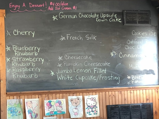 Dessert menu on chalkboard