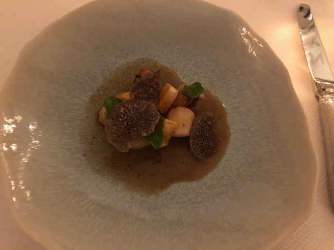 Nantucket Bay Scallops, mandarin, black truffle