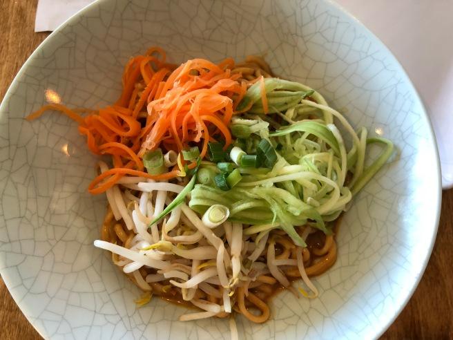 Sesame noodle: noodles in sesame/peanut sauce, cucumbers, carrots, bean sprouts