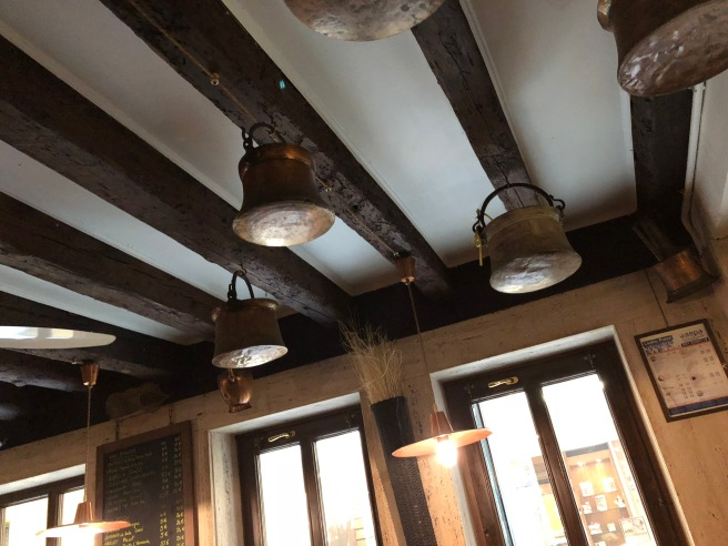 pots decorate the ceiling