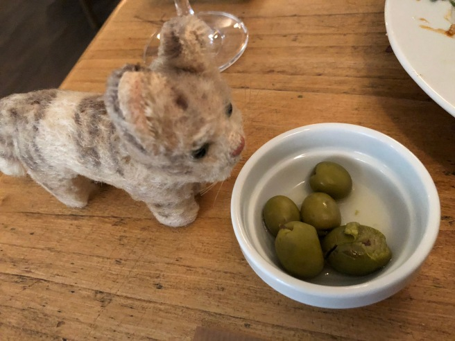 Frankie checked out the olives