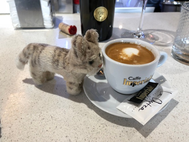 Frankie enjoys a bit of coffee afterwards