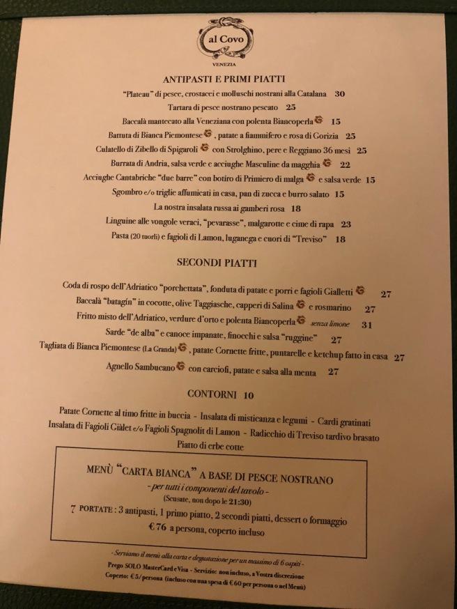 menu in Italian