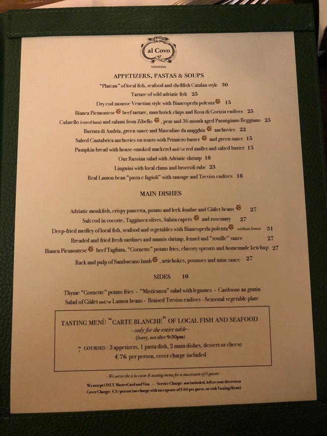 menu in English