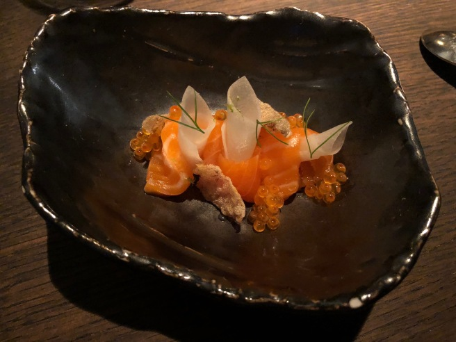 Ocean trout, Daikon radish, smoked roe and yuzu citrus