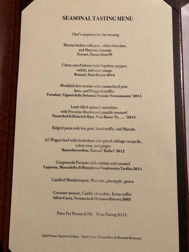 seasonal tasting menu