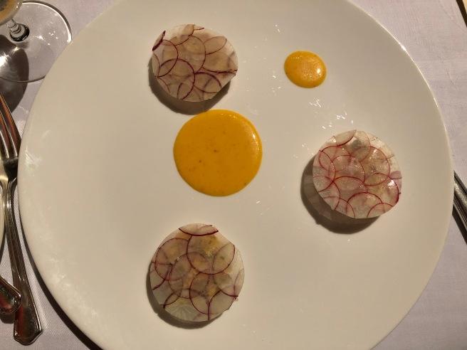 Citrus cured lobaster with Espelette pepper, radish and sour orange