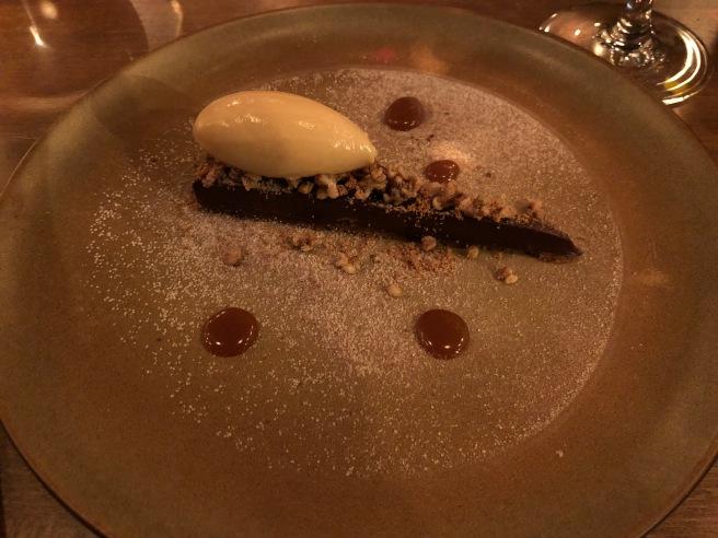 Black chocolate tart and dolce de leche ice cream, bukwheat crisp