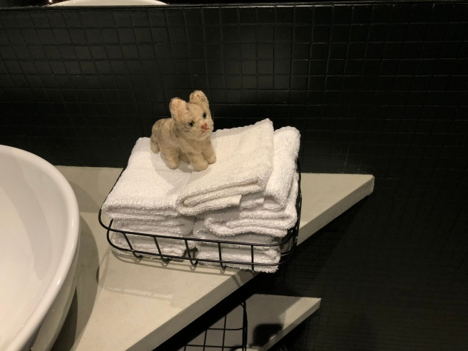 Frankie played on the hand towels