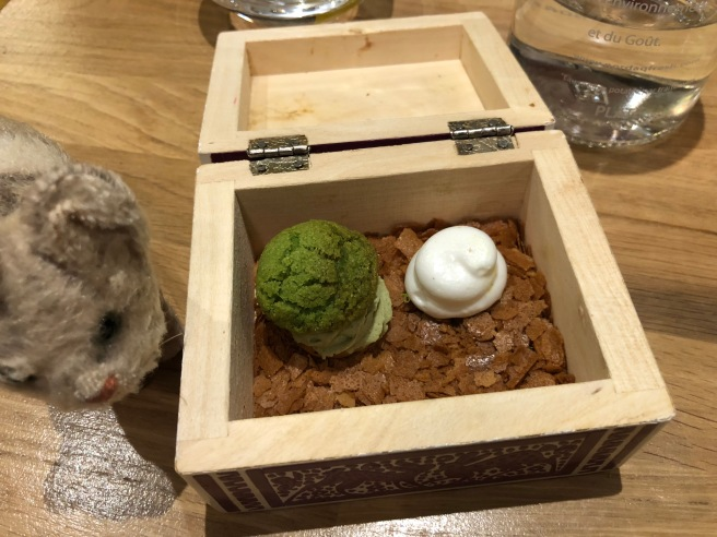 Pistachio profiterole and lime meringue