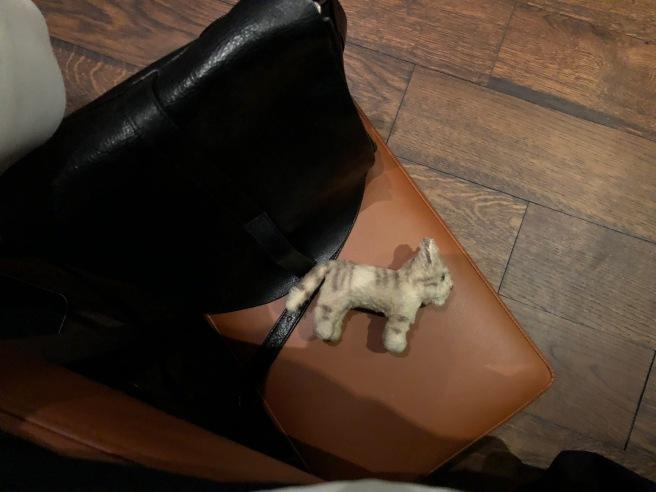 Frankie napped on the purse stool