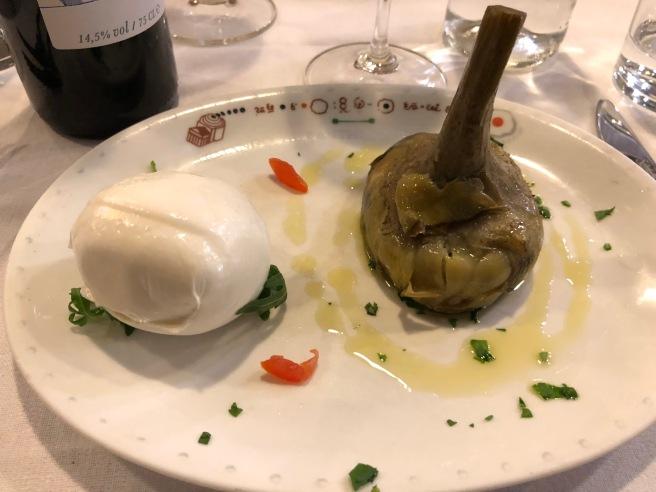 Buffalo Mozzarella with steamed artichoke