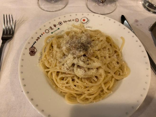 Spaghetti alla Griscia con guanciale (bacon), pecorino romano and black pepper