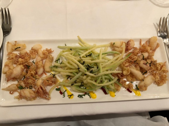 Deep fried baby calamari were served with mint flavored zucchini tempura
