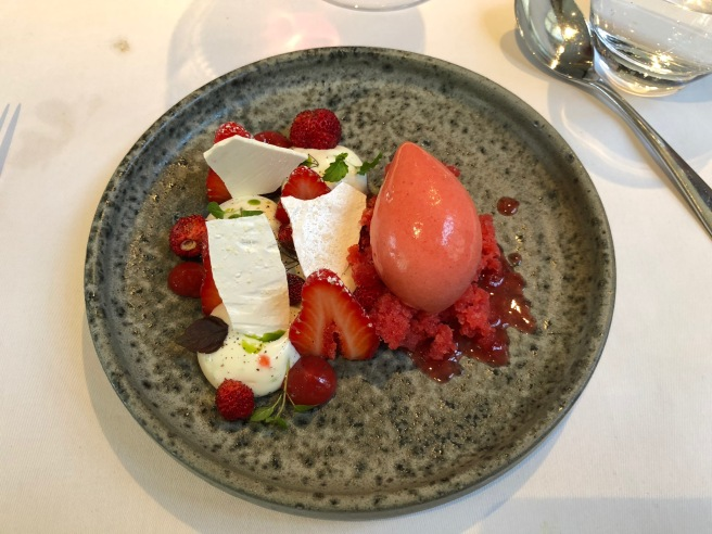 Gariguette Strawberries with whipped ewe's milk yoghurt and sorbet